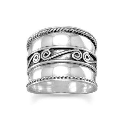 Picture of Bali Ring with Spirals and Rope Edge