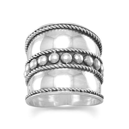 Picture of Bali Ring with Flat Beads in the Center and Rope Edge