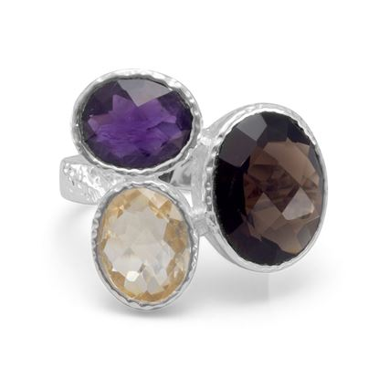 Picture of Amethyst, Citrine and Smoky Quartz Ring