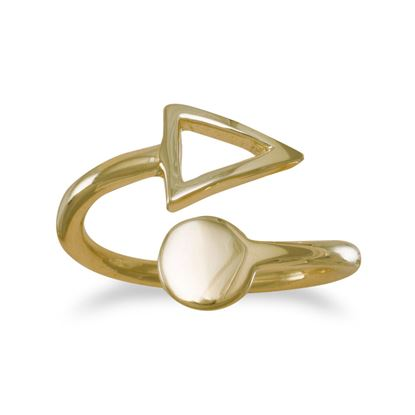 Picture of 14K Gold Plated Open Ring with Circle and Triangle Ends