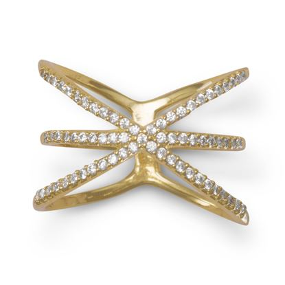 """Picture of 18 Karat Gold Plated Triple Row Criss Cross """"X"""" CZ Ring"""