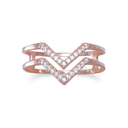 """Picture of 18 Karat Rose Gold Plated Double Row CZ """"V"""" Ring"""