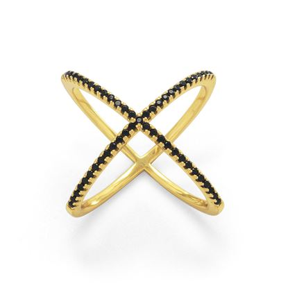 Picture of 18 Karat Gold Plated Criss Cross 'X' Ring with Black CZs