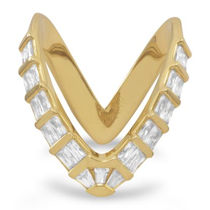 """Picture of 18 Karat Gold Plated CZ """"V"""" Ring"""