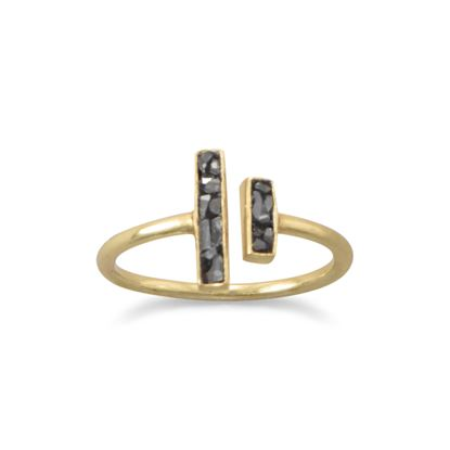 Picture of 14 Karat Gold Plated Glass and Diamond Chip Ring