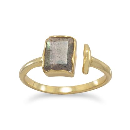 Picture of 18 Karat Gold Plated Rectangular Labradorite Ring