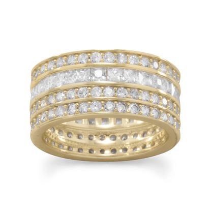 Picture of 14 Karat Gold Plated 4 Row CZ Band