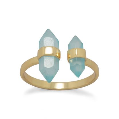 Picture of 14 Karat Gold Plated Aqua Chalcedony Split Ring