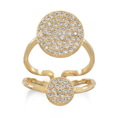 Picture of 14 Karat Gold Plated Double CZ Circle Fashion Ring
