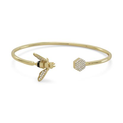 Picture of 14 Karat Gold Plated and Signity CZ Bee Flex Cuff