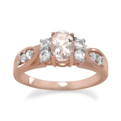 Picture of 14 Karat Rose Gold Plated Morganite and White Topaz Ring