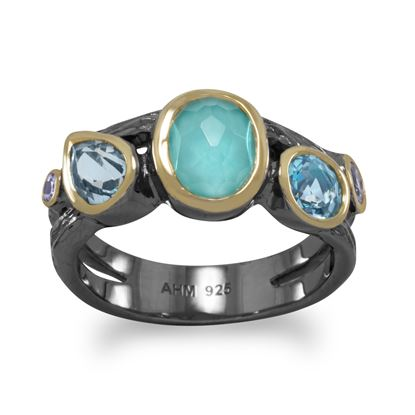Picture of Bi Tone Plated Multistone Ring